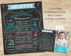 First Birthday Photo Chalkboard - Invitation, Custom 1st Birthday Poster - One Year Princess Girl Party Vintage Bundle, Birthday Invite Sign on Etsy, $40.00