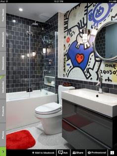 Bathroom Kids Bathroom Design Ideas, Pictures, Remodel, and Decor - page 4 Teen Boy Bathroom, Teen Bathrooms, Kid Bathroom Decor, Bathroom Colors, Bathroom Interior, Amazing Bathrooms, Modern Bathroom, Small Bathroom, Teenage Bathroom Ideas