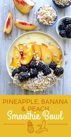 Pineapple, Banana, and Peach Smoothie Bowl blend pineapple, banana, coconut water, and honey. The toppings are peach, blackberries, sunflower seeds, and puffed rice cereal. Get the recipe at the bottom of the post.