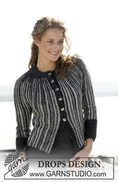 """Ravelry: 110-2 jacket in garter st in """"Fabel"""" and """"Alpaca."""" Worked from side to side with short rows. pattern by DROPS design"""