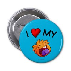 I Love My Orange My Puffle 2 Inch Round Button