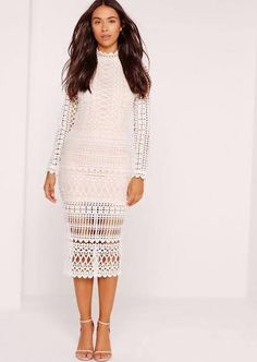 lace midi dress nude