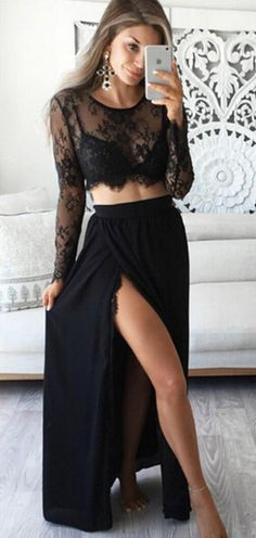 Two Piece Prom Dresses Long Black Formal Dresses With Slit, A Line Evening Dresses Lace Two Piece Prom Dresses Long Black Prom Dresses With Slit, A Line Prom Dresses Lace, Chiffon Prom Dresses Beautiful Prom Dresses Two Piece, Elegant Prom Dresses, Prom Dresses With Sleeves, Black Prom Dresses, Dance Dresses, Evening Dresses, Party Dresses, Dress Formal, Dress Prom
