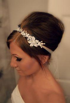 8e596d146bc Bridal Hair Vine - Rhinestones In a Silver Floral Design