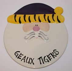 New Geaux Tigers LSU Santa Claus Christmas Ceramic Hand Painted Serving Platter #Unbranded #LSUTigers