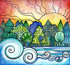 Sundown at the Park sun ocean waves trees print from my Coloring book Joyful Inspirations published by Faithwords Publishing. It is a print from my painting that I created with ink, and acrylic paint and other mixed media It is are printed on HP premium soft gloss paper with Vivera archival ink...gorgeous color and quality..Thanks for looking..