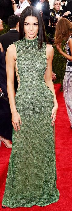 Green Backless Kendal Jenner Gown