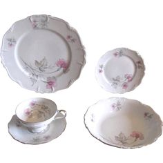 vintage 1940s pink and gray floral porcelain dinner settings from edelstein of bavaria 20 piece service for 4