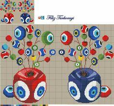 Designed by Filiz Türkocağı. Modern Cross Stitch, Cross Stitch Designs, Cross Stitch Patterns, Cross Stitching, Cross Stitch Embroidery, Cross Stitch Pillow, Tapestry Crochet, Christmas Cross, Beading Patterns