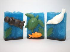 LIMITED EDITION - Ocean Scene Soap - turtle soap, seal soap, otter soap, sea turtle soap, art soap, gift soap, seaside, marine by WizardAtWork on Etsy