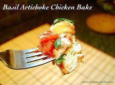 Basil Artichoke Chicken Bake 3 1/2 pounds skinless chicken breasts (about 5-6 breasts) salt and pepper 2 - 14 oz cans diced Italian tomatoes, drained 1 - 14 oz can quartered artichokes, drained 4 cloves garlic, minced 3 T fresh parmesan cheese, grated 2 Tb flour or 1 Tb cornstarch (optional, if you would like a thicker pan juice) 4 oz shredded mozzarella cheese fresh basil, chopped