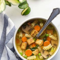 Tofu noodle soup is a cozy and familiar vegan alternative to chicken noodle soup. This quick and simple recipe is perfect for when you feel under the weather. Vegan Snacks, Vegan Recipes, Cooking Recipes, Vegan Food, Tofu Noodles, Food Out, Healthy Fruits, Roasted Sweet Potatoes, Noodle Soup