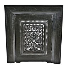 late 19th century antique american ornamental cast iron black enameled salvaged chicago perforated fireplace summer cover with matching surround - Antique Fireplace Mantels & Inserts - Architectural - Products