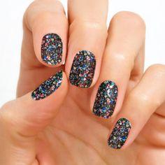 color street broadway glimmer glitter nail polish strips  #nails #shaped #almondnails #almond #glitternails #naildesign #nailpolish #nailart #nailswag #ovalnails #blacknails