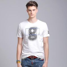 2017 Brand Newest Men T-shirt Summer Hand-Painted Short Sleeve O-neck Letter Casual Slim T Shirt