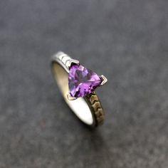 Amethyst Purple Gemstone Chevron Ring in Sterling by onegarnetgirl