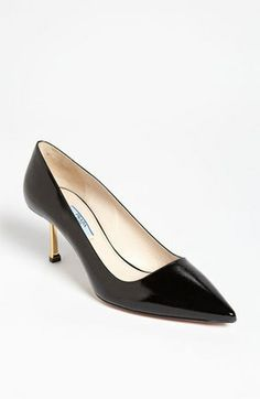 (1-a) -pump heels-prada black patent leather with metal heels