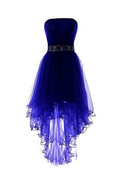 Fanciest Women's Strapless Beaded High Low Prom Dresses Short Homecoming Gowns Royal Blue US16. Dear Customer,Welcome to Fanciest!Be a happy purchasing jouney:). if you want to custom made the dress.Pls contact us:). The fabric is Organza with light, breathable and straight features. Dry clean or Hand wash. Can be used as Bridesmaid Dress, Wedding Dress, Evening Dress, Prom Dress, Party Dress and other various formal occasions.All you need to do is dream.