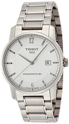 Tissot Mens T0874074403700 Silver Titanium Swiss Automatic Watch *** Click image to review more details.