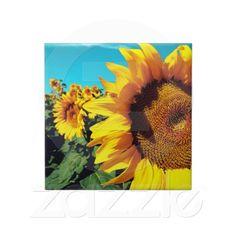 Vibrant Sunflowers against blue sky Ceramic Tile
