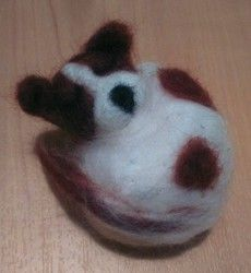 New Listing Started Handmade Needle Felted Sleeping White Brown Jack Russell Dog Ornament £4.99