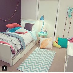 Kids room designed by Darren and Dee from The Block. Pillows and blankets/throws by David Fussenegger.