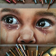 Awesome work by majla art IG ArtGully Pencil Drawings, My Drawings, Mother Painting, Art Du Croquis, Caran D'ache, Color Pencil Art, Realistic Drawings, Eye Art, Pencil Portrait
