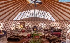 Incredible luxury yurt under a canopy of oak trees on a ranch in California
