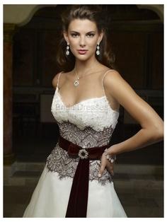 A-line Spaghetti Straps Sleeveless White/Ivory Organza Wedding Dresses