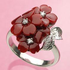 最高級!日本産血赤珊瑚<花彫り>K18WGリング