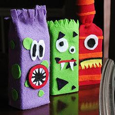After your kids finish their juice box, #recycle it to make these creepy creatures for your Halloween party. http://www.parents.com/holiday/halloween/decorating/halloween-decorations-crafts/?socsrc=pmmpin090712HPIJuiceBoxMonster=8