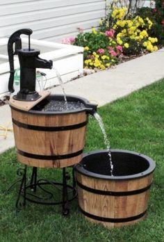 $435 myamishgoods.com whiskey barrel pond/fountain