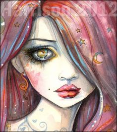 Like the colors in this, the stars and moon in her hair, the swirls around her neck. Molly Harrison 2012♥•♥•♥