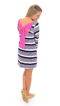 ShopBlueDoor.com: Striped tunic with a neon pink surprise! $38