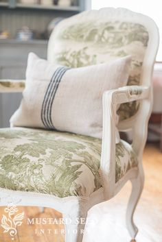 reupholstered French chair | miss mustard seed