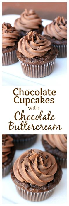 Yummy homemade chocolate cupcakes with the easiest, best chocolate buttercream frosting! My favorite!  Recipe on MyRecipeMagic.com