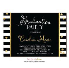 Black & White Stripe Graduation Party Invitation - Black, White and Gold Confetti Graduation Invite - Printable