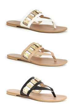 Flat sandals with gold-toned hardware, a thong silhouette and an ultra-soft insole that keeps your feet cool all day | By @solesociety