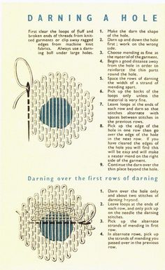 Sewing Techniques Couture coletterie_darning_a_hole - In today's culture of disposable fashion, the simple art of basic darning and mending has been all but forgotten. Sewing Projects For Beginners, Sewing Tutorials, Sewing Hacks, Sewing Crafts, Sewing Patterns, Sewing Tips, Basic Sewing, Clothes Patterns, Sewing Basics
