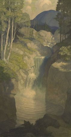 N. C. Wyeth (182-1945) title unknown (summer landscape with waterfall) 1928 Oil on canvas, approximately 45 x 25 in. (114.2 x 63.4 cm)