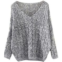 Knit Batwing Sweater Shop Elettra (€27) ❤ liked on Polyvore featuring tops, sweaters, shirts, batwing sweater, loose fitting sweaters, batwing sleeve tops, hand knitted sweaters and loose sweater