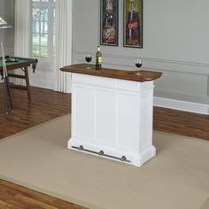 Home Bar Furniture Table Liquor Storage White Dining Room Cocktail Pub Drawer  #HomeStyles