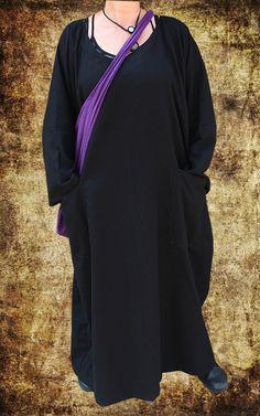 NEU LAGENLOOK MEGA BAGGY BALLON KLEID LONG TUNIKA 48 50 52 Leinen SCHWARZ Kaftan in Kleidung & Accessoires, Damenmode, Kleider | eBay