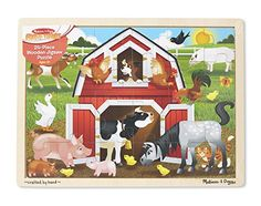 Kids will love putting together this 24-piece wooden jigsaw puzzle to reveal a busy barn scene that is bursting with colorful farm animals! When the puzzle is complete the jigsaw stores neatly in its...
