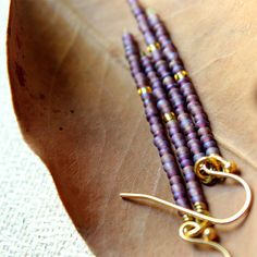 Turquoise, Purple, Yellow Green Colored Seed Bead Twiggy Long Bar Fringe Gold Earrings - Delicate Simple Modern Jewelry - TWIGGY by 5050 S