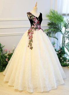 Ivory lace V neck embroidery long formal prom dress, ivory customize evening dress Ivory Prom Dresses, Quince Dresses, Formal Dresses, Indian Dresses, Evening Dress Long, Evening Dresses, Formal Prom, Quinceanera Dresses, Beautiful Gowns