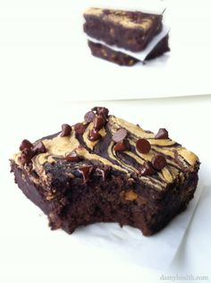 Black Bean Peanut Butter Swirl Brownies *This recipe is gluten free, grain free, clean, high fiber, nutrient dense and the best healthy brownies on earth. http://www.damyhealth.com/2012/05/black-bean-brownies-with-peanut-butter-swirl/