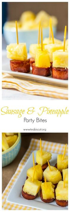 These fun little Sausage and Pineapple Party Bites are easy to make in a hurry and would make a great appetizer for your next party!   www.teabiscuit.org