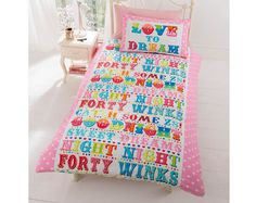 Love To Dream Duvet Set £11.00 Single duvet set with 1  pillowcase. 48% cotton, 52% polyester. Machine washable. Popper fastenings