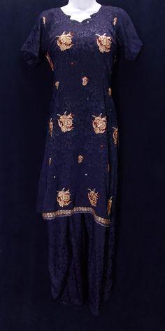 Midnight blue jacquard embr salwar kameez (M)